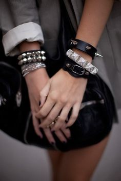 Studded bracelets. Minus the one with massive spikes.