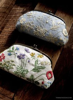 Flowers of the field Pouch by yumiko higuchi