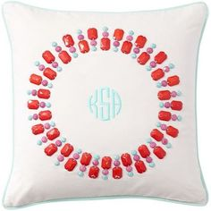 Pottery Barn Teen Gem-Sational Monogram Pillow Cover, Coral, 16 X 16