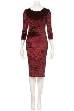 Topshop Crushed Velvet Midi Dress in Red | Lyst