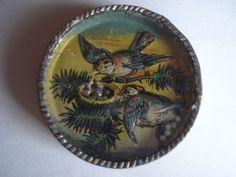 Antique Dexterity Puzzle  Two Birds with Eggs in a Nest  Germany 1940's
