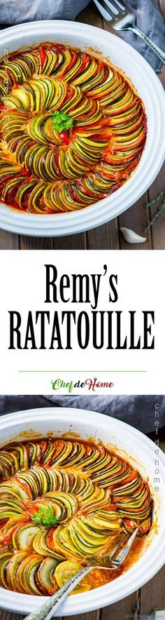 Ratatouille Recipe Like Remy Made for Ego in Ratatouille movie....This was really good but it needed an extra bell pepper. My husband suggested cutting some of the veggies in half after slicing thinly (e.g., potatoes, egg plant) in order to cook thoroughly. Also, I don't really think the belchamel added much. We added grated parm on top. It was a nice flavor. Also, substitute chili powder for chili flakes. Will make this again. What a beautiful dish!