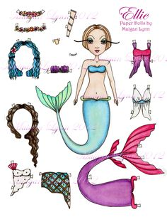 Paper Doll Ellie PDF printable download by Maigan Lynn.  I want to do a mermaid paper doll too!