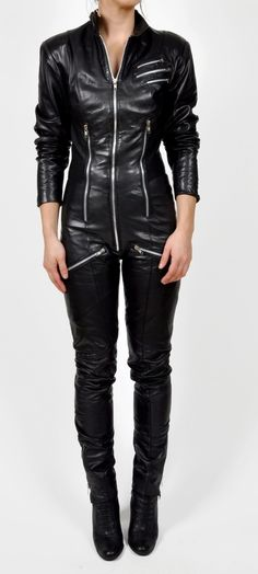 reserved vintage black LEATHER ONE PIECE moto by maevenvintage