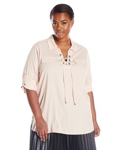 Calvin Klein Women's Lace-Up Top with Collar *** You can get additional details at the image link.