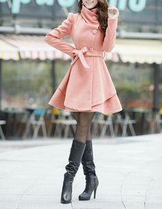 Pink Long  Dress Spring Trench Coats Wool Cape door dresstore2000, $69.99