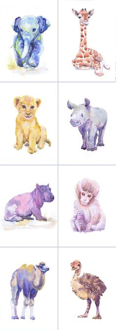 Artist Trading Cards, Set of 9 Signed Art Prints Watercolor Painting ACEO Jungle Safari Baby Animals ATC Giclee Collectible Card Watercolour  Set of 9 #artpainting
