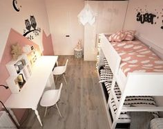 Great colour scheme and decor for pair of twin girls bedroom # children's room