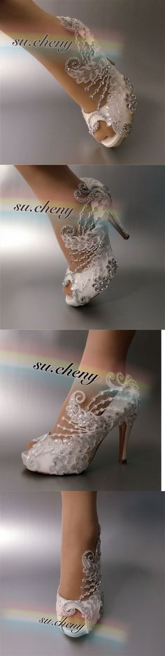 Wedding Shoes And Bridal Shoes: 3 4 Heel Satin White Ivory Lace Crystal Open Toe Wedding Shoes Bride Size 5-11 -> BUY IT NOW ONLY: $59.99 on eBay!