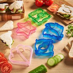 Featuring a variety of shapes, from dinosaurs to dolphins, this 9 piece set of food cutters are perfect for either boys or girls! Bread Mold, Russian Piping Tips, Icing Nozzles, Drink Mixer, Diy Food, Fruits And Vegetables, Safe Food, Food Art, Food To Make