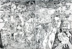 """Who knows? Bart Johnson Fine Art Interview: [...] I've been drawing and painting what could roughly be considered Dante's Hell or the Divine Comedy since the 1980s, (Gustav Dore's depiction of Dante's Hell). The two etchings were done in strip clubs in NYC in the early nineties, pictured below. [...]"""" -- http://murphydesign1.blogspot.de/2012/02/who-knows-bart-johnson-fine-art.html"""