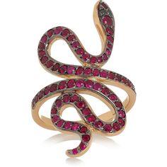 Ileana Makri Slither Snake 18-karat rose gold ruby and diamond ring via Polyvore