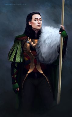 """Tom Hiddleston """"Loki"""" Fan art from http://zwierzodudle.tumblr.com/post/84678956372/didnt-draw-anything-in-a-while-especially-now-that"""