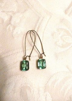 Green Faceted Rhinestone Dangle Earrings by southernvintagerose, $8.00