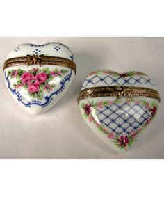 Limoges Floral Heart Boxes (case Of 2)