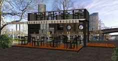 Shipping container used for a brew pub concept.