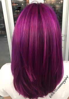 Hair color by beautiful multidimensional magenta and purple hair . Hair color by Violet Hair Colors, Hair Color Purple, Hair Color And Cut, Pink Hair, Hair Colours, Red Violet Hair, White Hair, Love Hair, Gorgeous Hair