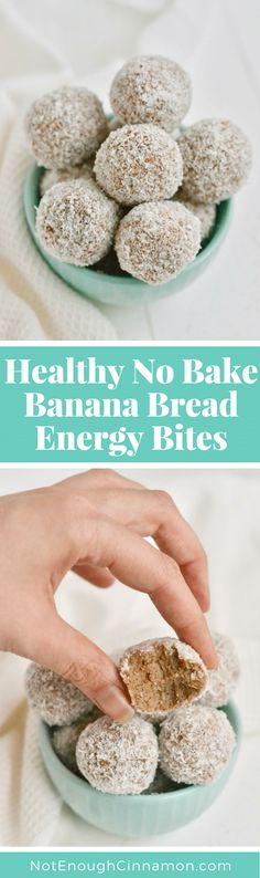 A convenient healthy no-bake snack or dessert that tastes just. A convenient healthy no-bake snack or dessert that tastes just like banana bread! Its paleo gluten free and super healthy! Find the recipe on NotEnoughCinnamon No Bake Snacks, Easy Snacks, Yummy Snacks, Snack Recipes, Dessert Recipes, Paleo Dessert, Gluten Free Desserts, Gluten Free Recipes, Thm Recipes