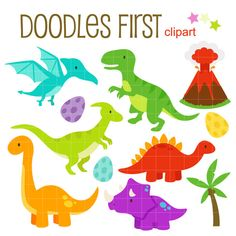 Süße Dinosaurier Digital ClipArt für Scrapbooking Card Making Cupcake Toppers Paper Crafts