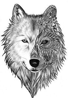 Bildergebnis für wolf illustration More - Julie's Tattoos Wolf Tattoo Design, Lotus Tattoo Design, Skull Tattoo Design, Tattoo Wolf, Tattoo Designs, Lizard Tattoo, Coyote Tattoo, Two Wolves Tattoo, Wolf Design