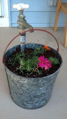 Hometalk :: Vintage Bucket and Faucet Planter
