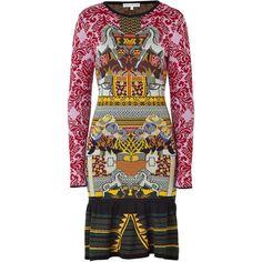 MARY KATRANTZOU Purple Rose Lily Patterned Knit Dress ($1,806) ❤ liked on Polyvore