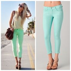 Mint Crop Capri Skinny Jean Jeggings Size Small So pretty for Spring!!  Mint skinny jean crop Capri Jeggings, 5 pockets, belt loops, button and fly zipper, 68% Cotton/27% Polyester/5% Spandex.  Size Small.  Right pic is actual color. No Trades, Price Firm unless Bundled.  BUNDLE 3 OR MORE ITEMS FOR 15 % OFF. Boutique Pants Capris