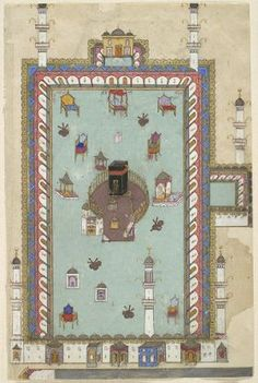 From the Harvard Art Museums' collections Harem al Sharif at Mecca, illustrated folio from a manuscript of the Javahir al-Gharaib Tarjomat Bahr al-Aja'ib (Gems of Marvels: A Translation of the Sea of Wonders) of Jennabi (Cennabi) History Of Pakistan, Harvard Art Museum, Building Illustration, Arabic Calligraphy Art, Prayer Rug, Mecca, Sacred Art, Illuminated Manuscript, Islamic Art