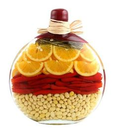 I hate these vinegar bottles, but just a reference to bottles/jars with colorful ingredients
