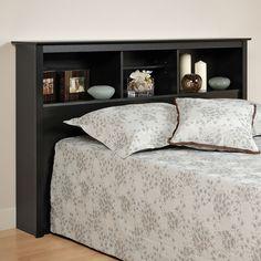 Prepac Full Queen Bookcase Headboard Black