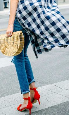 update mom style, mom style, summer style, duster, red heels, gingham, cult gaia bag, summer bag, street style,  www.herstyledview.com