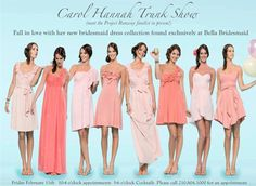 This is how I'm hoping the different shade of pink, different stylebut chiffon bridesmaids dresses will work.