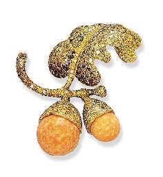 COLOURED DIAMOND AND MELO PEARL ACORN BROOCH   Set with two melo pearl acorns to the pavé-set vari-coloured diamond stem and leaves