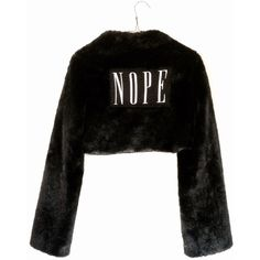 Faux Fur Fuzzy Goth Crop Coat 90s Wet Seal Medium Large ($79) ❤ liked on Polyvore featuring outerwear, coats, fake fur coats, faux fur coat, goth coat, cropped coat and long sleeve coat