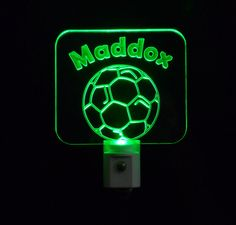 #Kids Personalized #Soccer Night Light,  Eco Friendly LED, Custom with name and number#personalizedgift #LED #CLEVELAND