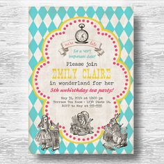 Vintage Alice Invitation for Birthday Party or Baby Shower - in Wonderland Tea Party Girls Printable DIY Invite by BeeAndDaisy