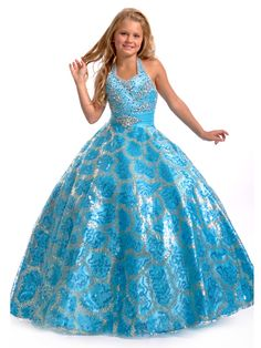 Y&C Girls' Ball Gown Sequins Floor Length Pageant Dresses, http ...