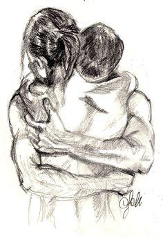Sad Drawings, Cute Couple Drawings, Pencil Art Drawings, Art Drawings Sketches, Art Nouveau Flowers, Charcoal Art, Charcoal Sketch, Romance Art, Couple Art