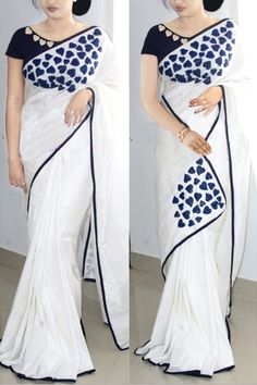 Paper Silk Saree Collection With Embroidery Work Kerala Saree Blouse Designs, Saree Blouse Neck Designs, Fancy Blouse Designs, Trendy Sarees, Stylish Sarees, Fancy Sarees, Saree Painting Designs, Saree Embroidery Design, Embroidery Stitches