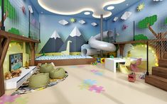 Daycare Design, Playroom Design, Kids Room Design, Playroom Decor, Indoor Playroom, Toddler Playroom, Creative Kids Rooms, Cool Kids Rooms, Teen Bedroom Designs