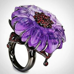 repost from @katerina_perez Gorgeous frosted amethyst, diamonds and red garnet flower cocktail ring by @bochic