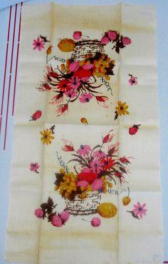 Vintage 1960s Linen Tea Towel-Floral & Fruit-Unused. $6.00, via Etsy.