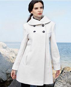Larry Levine Petite Coat, Portrait-Collar Wool-Blend Trapeze - Womens Petite Coats