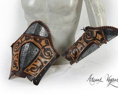 Pair of steel and leather and nordic armbands.Leather armor. LARP armor.Vikings bracer.s.Party costume.Viking costume