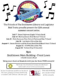 Smithtown Library's 12th Annual Summer Concert Series returns on Thursday, July 7th with seven fantastic tribute acts, covering everything from The Eagles to Top 40 Country! The concerts are completely free, so all you need to remember is your lawn chair and your favorite summer attire! Check out the article below for the schedule of performers and additional info.