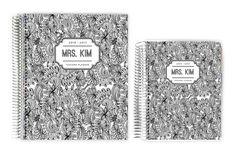 Teacher Planners - Black and White Pattern Custom Teacher Planner