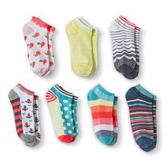 Xhilaration® Girls' 7pk Pastel Rainbow No Show Socks  Priority: 2
