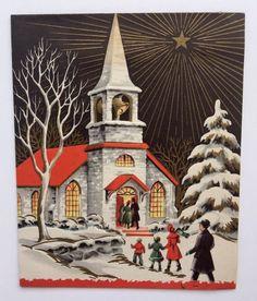 Vintage Christmas Card People Family Church Black Gold Star Snow Girl Boy Mom A+
