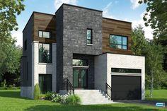 Maisons neuves avec toits plats à vendre - Construction Louis-Seize Modern Small House Design, House Front Design, Dream House Plans, Modern House Plans, Home Layout Design, Louis Seize, Berges, Architectural House Plans, A Frame House