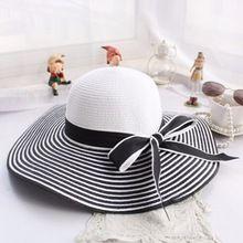 1800b9f27bdb2 2016 Nova Moda Vento Hepburn Preto Branco Listrado Bowknot Verão Mulheres  chapéu de Palha Chapéu de